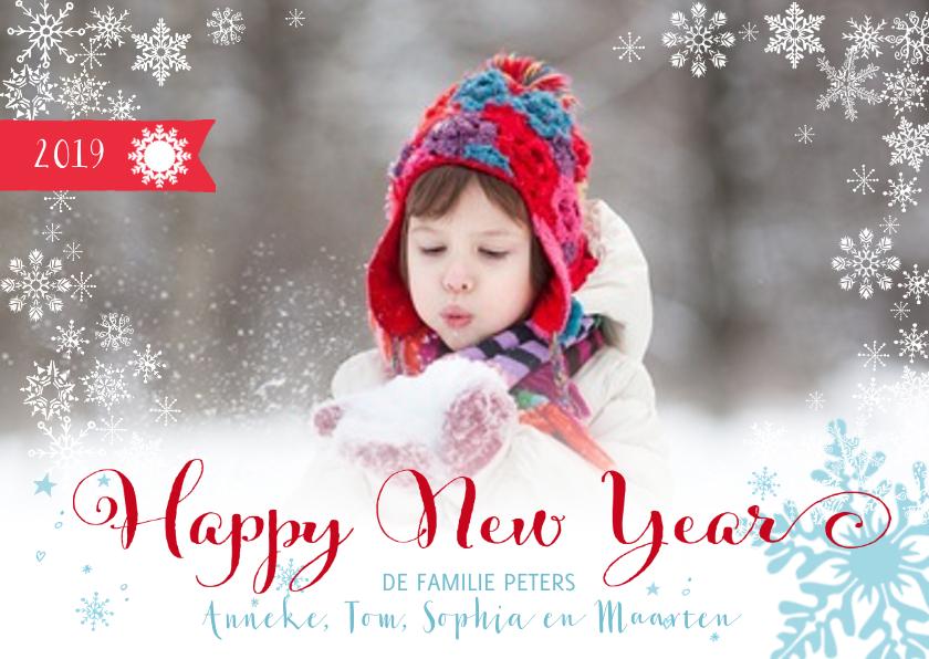 Nieuwjaarskaarten - Happy New Year Sneeuw Letters