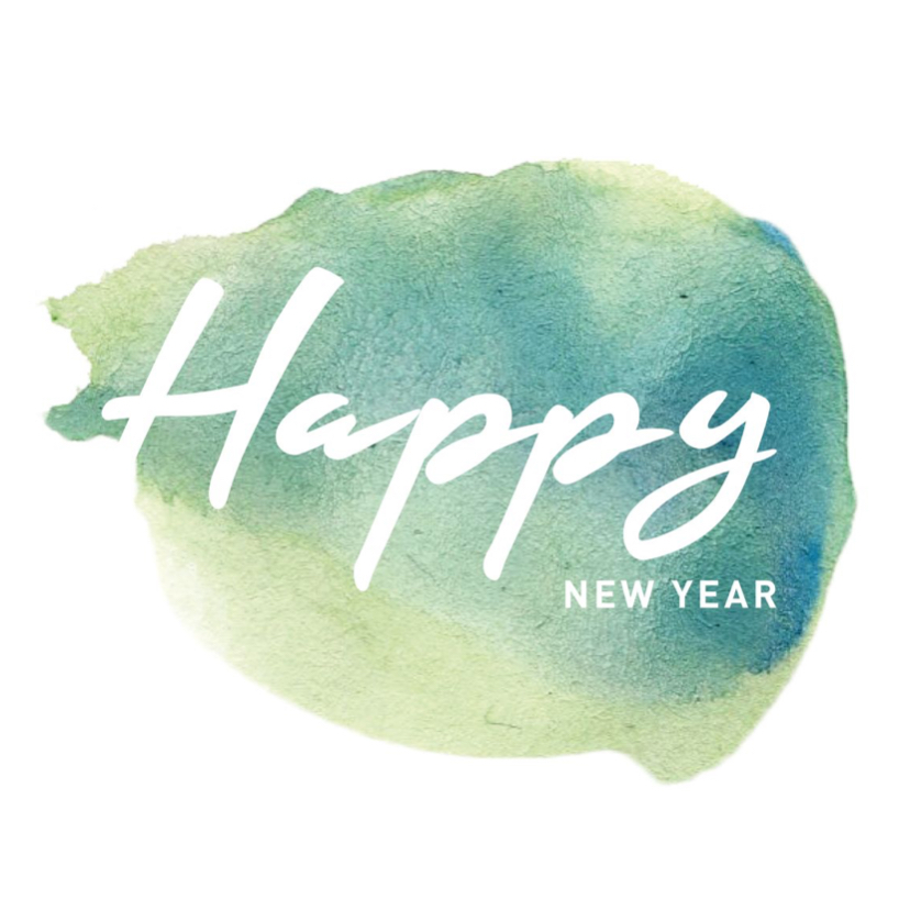 Nieuwjaarskaarten - Happy new year waterverf