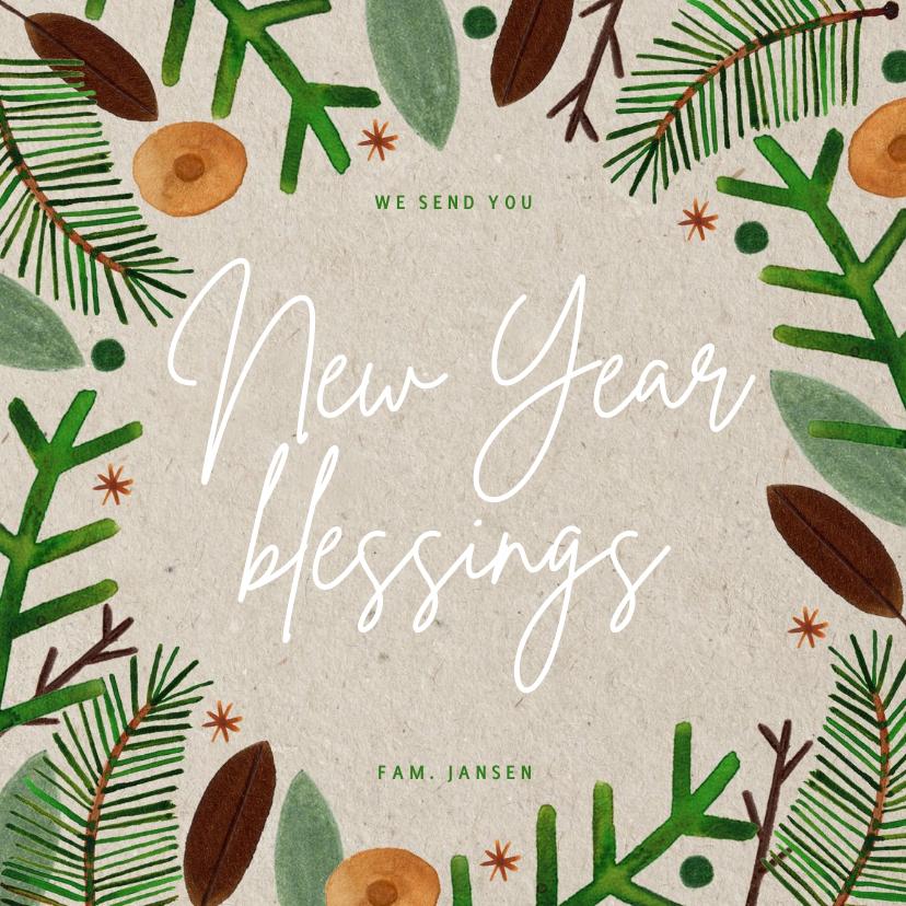 Nieuwjaarskaarten - Hippe christelijke nieuwjaarskaart groene takjes op papier