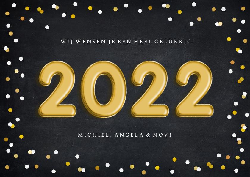 Nieuwjaarskaarten - Hippe nieuwjaarskaart met confetti en folieballon 2022