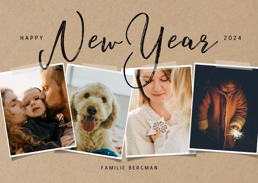 Nieuwjaarskaarten - Hippe nieuwjaarskaart met fotocollage op papierlook