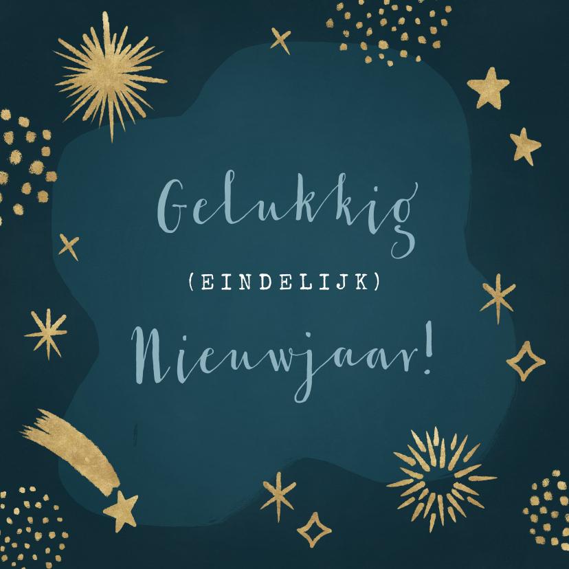 Nieuwjaarskaarten - Hippe nieuwjaarskaart met vuurwerk en sterren