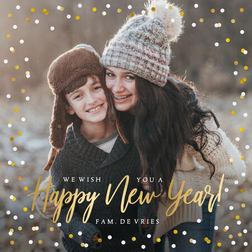 Nieuwjaarskaarten - Hippe vierkante nieuwjaarskaart met eigen foto en confetti