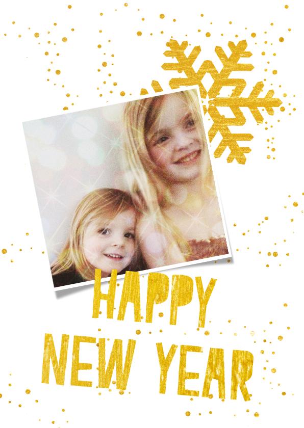 Nieuwjaarskaarten - Hippe wit gouden kerstkaart met eigen foto