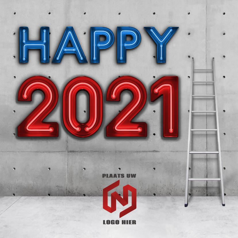Nieuwjaarskaarten - Industriële vierkante happy 2021 nieuwjaarskaart