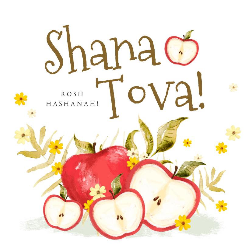 Nieuwjaarskaarten - Joods nieuwjaarskaart met appels en kleine bloemen
