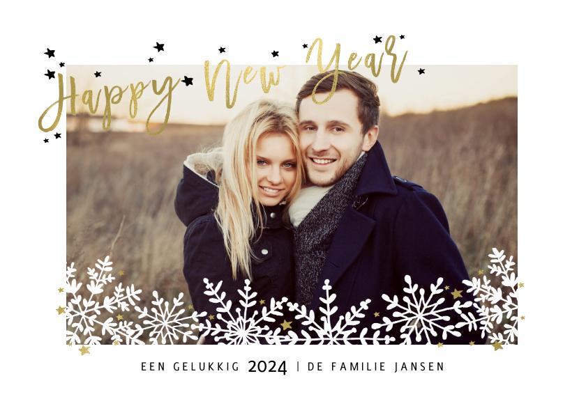 Nieuwjaarskaarten - Kerst en nieuwjaarskaart sneeuw