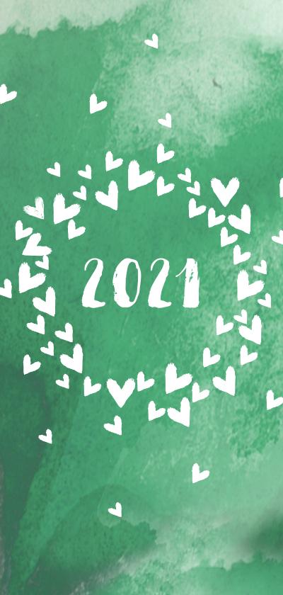Nieuwjaarskaarten - Kerst nieuwjaar hartenwolk eigen txt