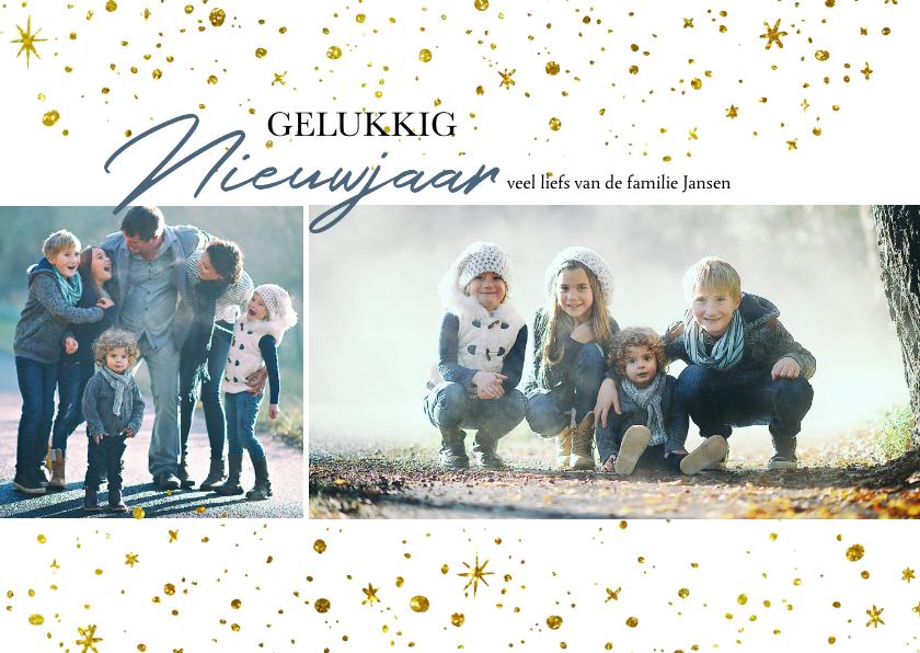 Nieuwjaarskaarten - Kerstkaart Gouden Sterren Lucht