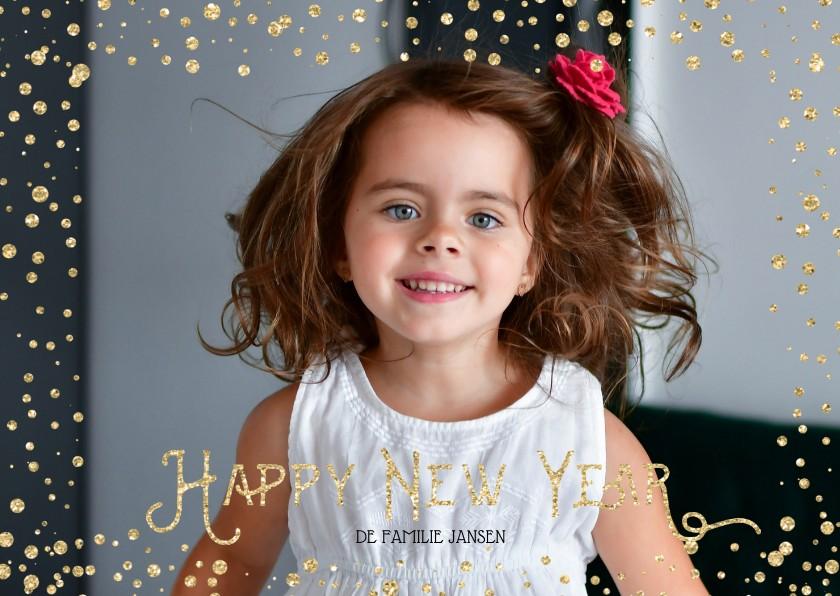 Nieuwjaarskaarten - Kerstkaart stippen Goud