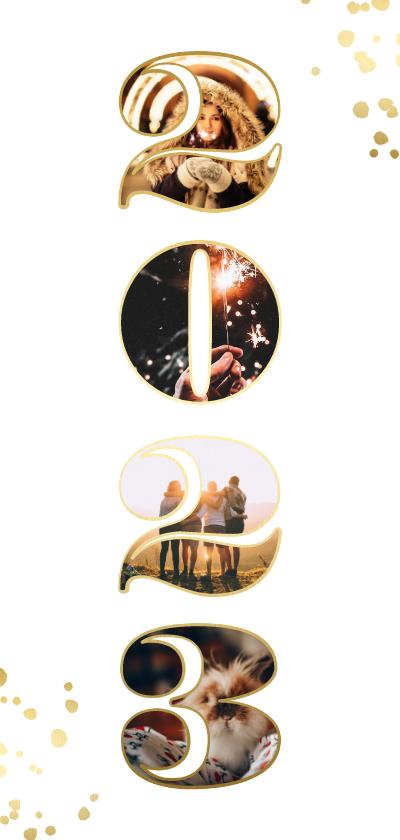 Nieuwjaarskaarten - Langwerpige nieuwjaarskaart '2022' gouden spetters