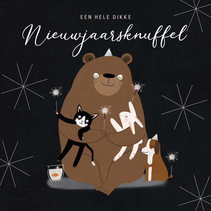 Nieuwjaarskaarten - Leuke nieuwjaarskaart dikke knuffel dieren illustratie ster