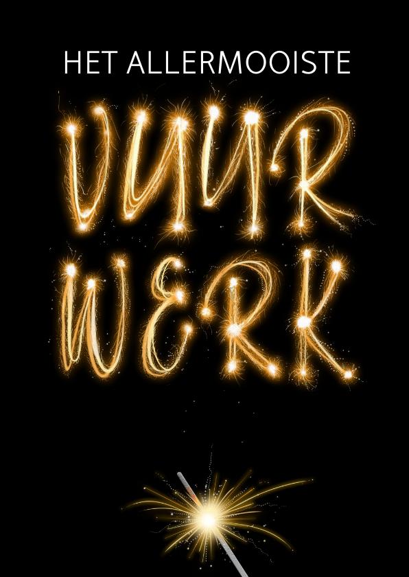 Nieuwjaarskaarten - Leuke Nieuwjaarskaart met vuurwerk en sterretjes op zwart