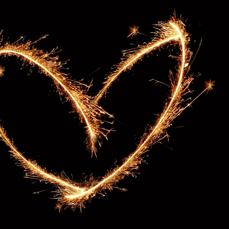 Nieuwjaarskaarten - Liefdevol Vuurwerk hart