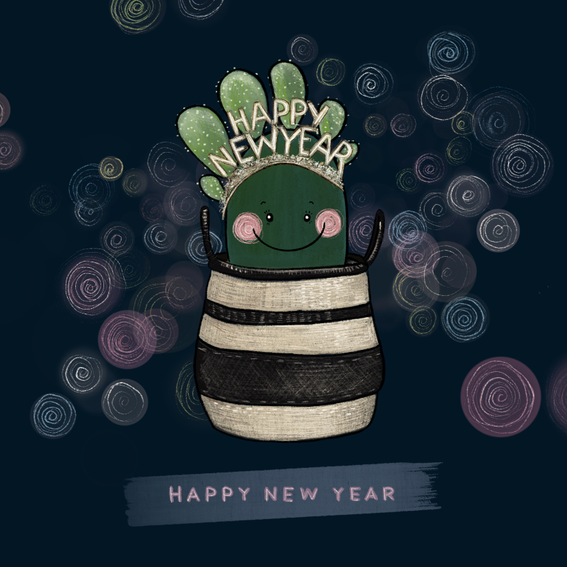 Nieuwjaarskaarten - Lieve nieuwjaarskaart cactus met diadeem happy new year!