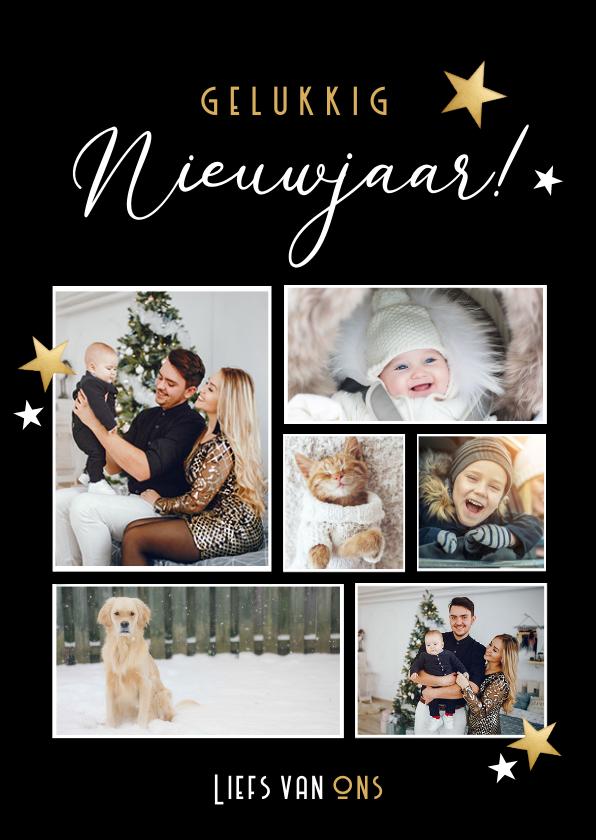 Nieuwjaarskaarten - Moderne fotocollage nieuwjaarskaart - nieuwjaarsgroetjes