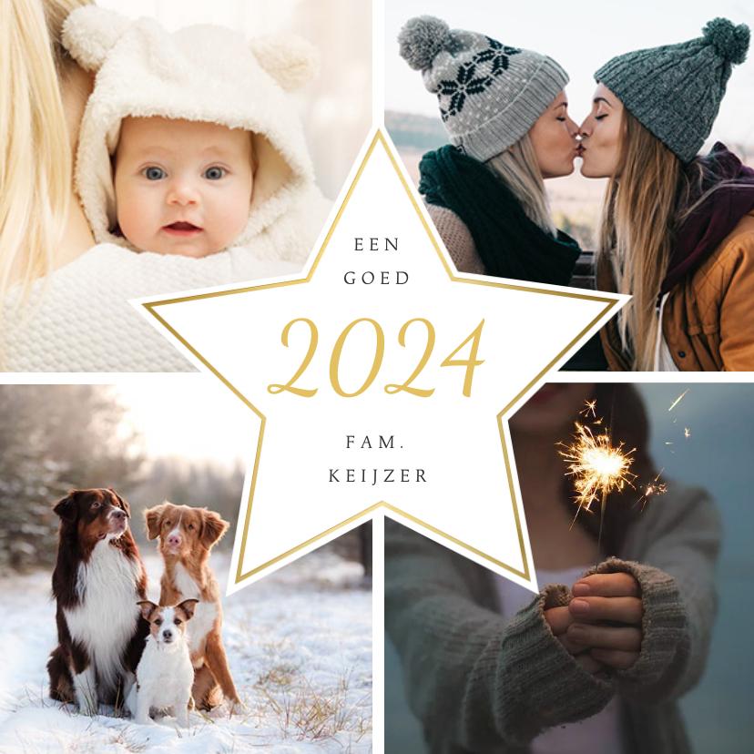 Nieuwjaarskaarten - Moderne nieuwjaarskaart fotocollage met 4 foto's en ster