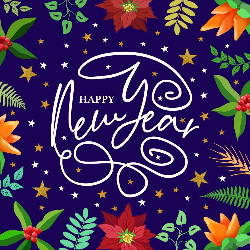 Nieuwjaarskaarten - Mooie nieuwjaarskaart met krullen, sterren en kersttakje
