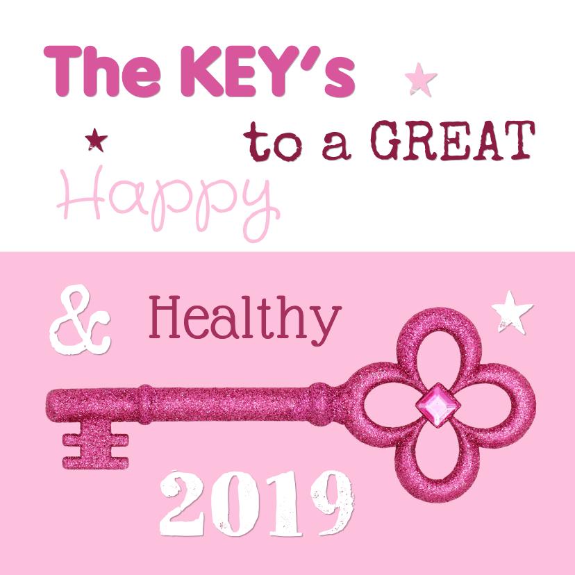 Nieuwjaarskaarten - Nieuwjaarskaart 2019 Roze Sleutels