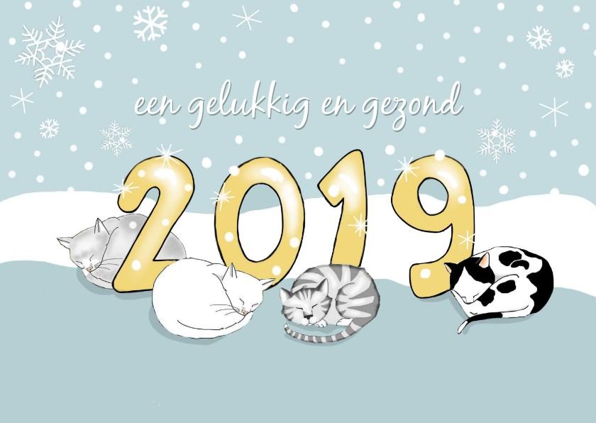 Nieuwjaarskaarten - Nieuwjaar - 2019 met vier katten