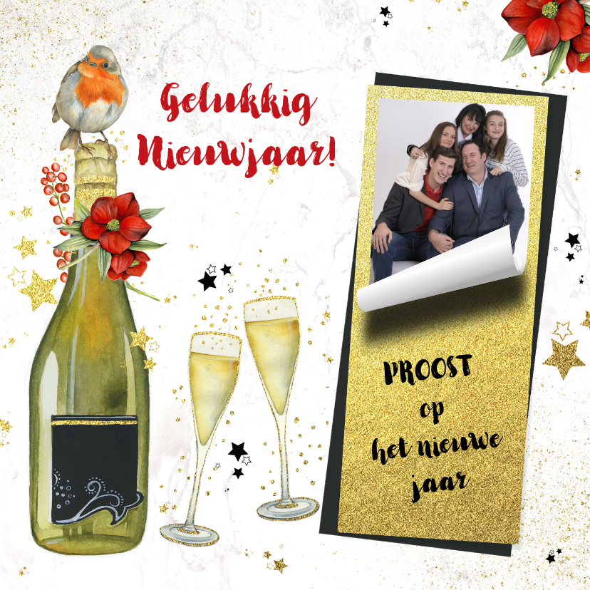 Nieuwjaarskaarten - Nieuwjaar champagne foto