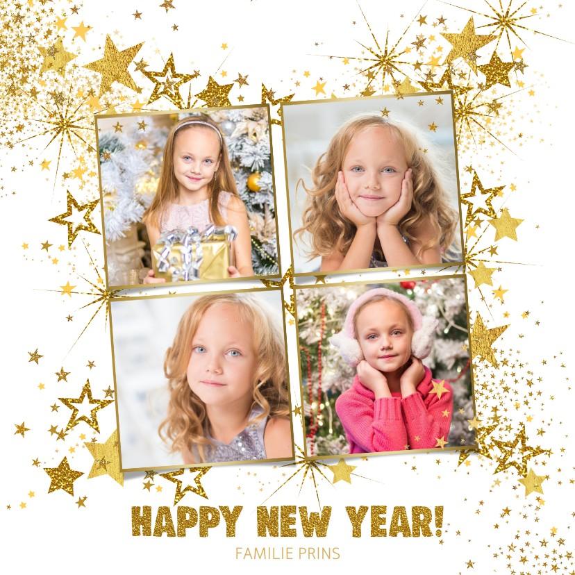 Nieuwjaarskaarten - Nieuwjaar feestelijke foto kaart met vele gouden sterren