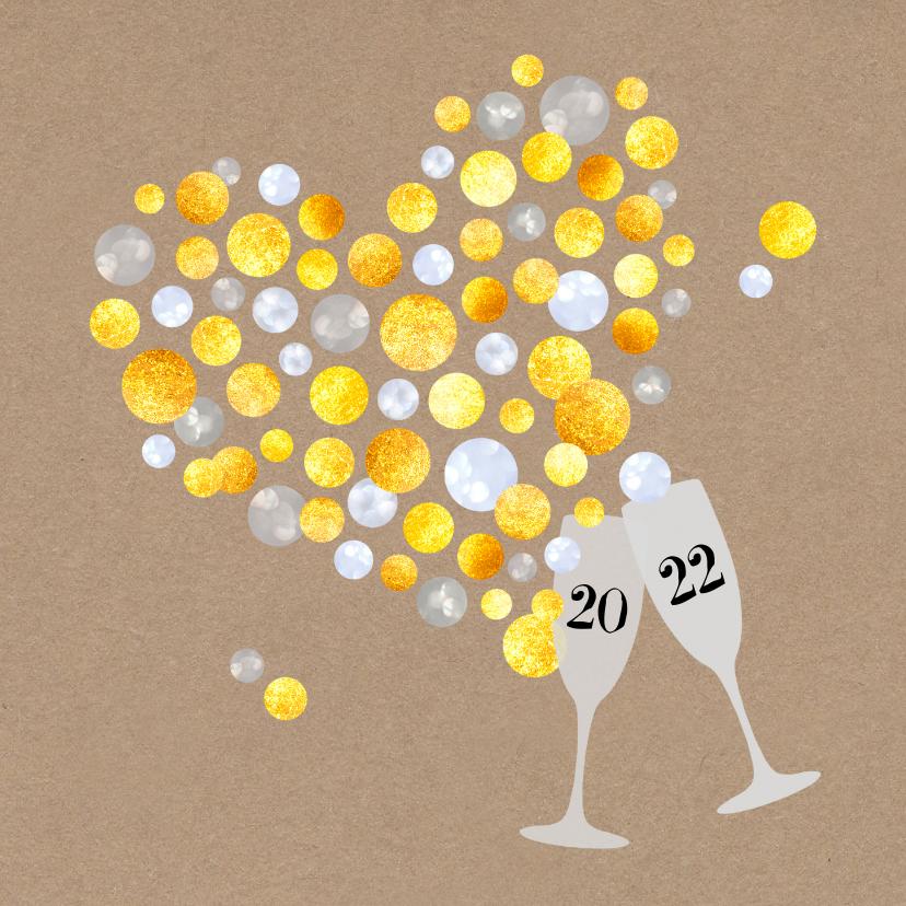 Nieuwjaarskaarten - Nieuwjaar Gouden Champagne bubbelhart 2022