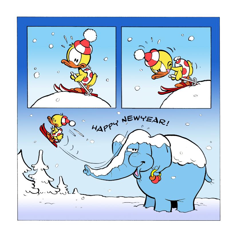 Nieuwjaarskaarten - Nieuwjaar Guusje en Filiep op de piste
