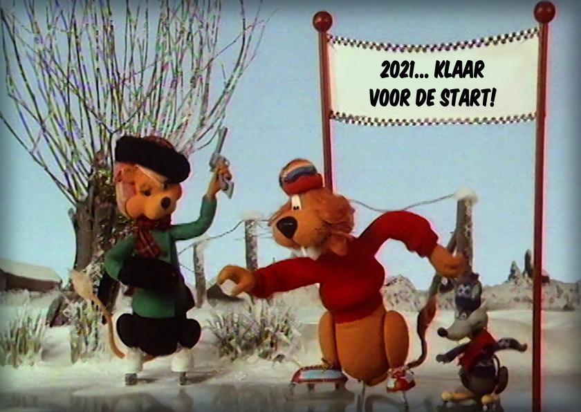 Nieuwjaarskaarten - Nieuwjaar Loeki wedstrijd schaatsen