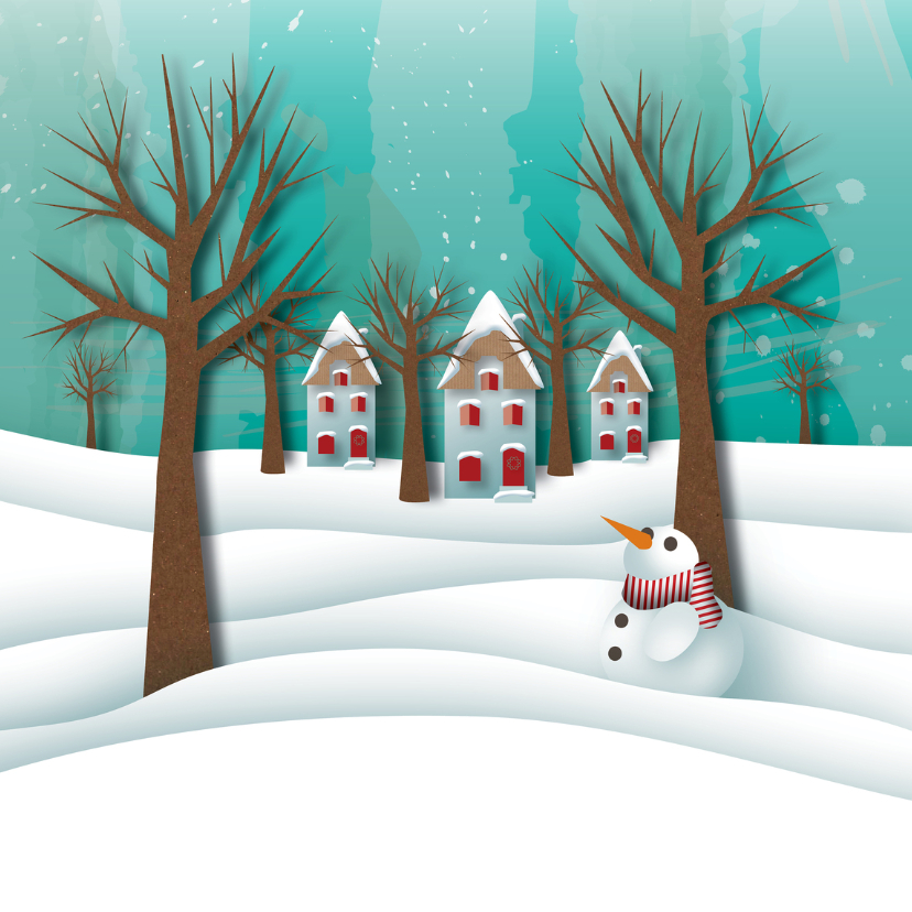 Nieuwjaarskaarten - Nieuwjaar - Sneeuw Witte Kerst - MW