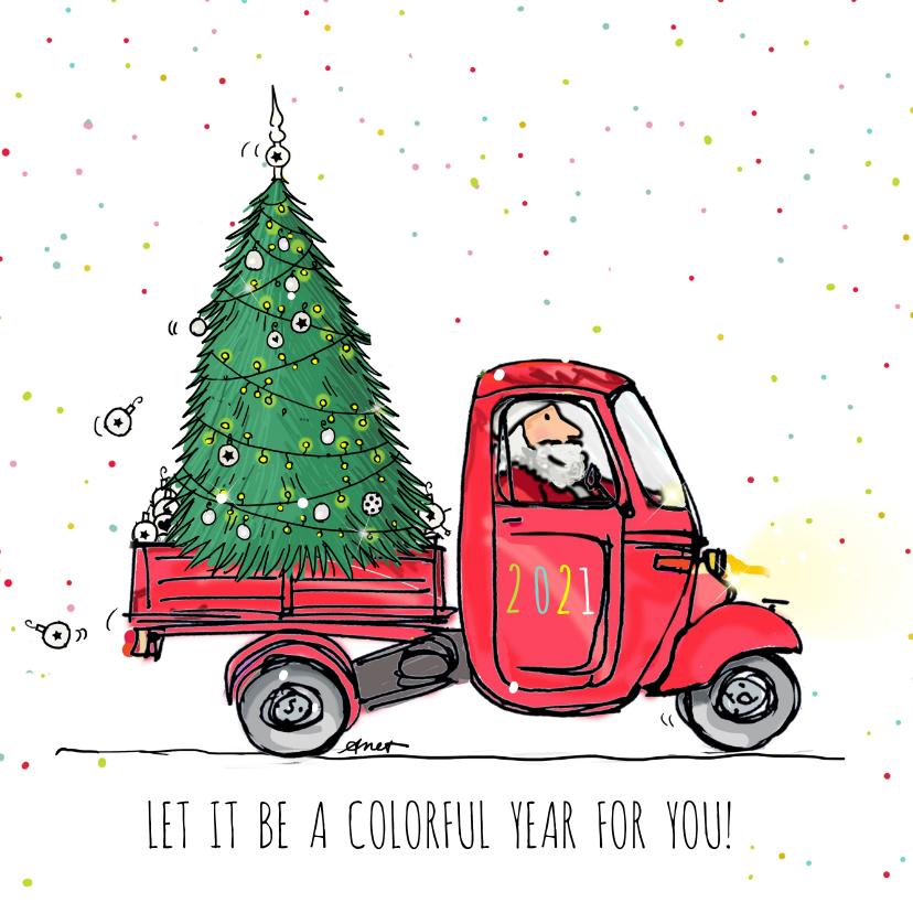 Nieuwjaarskaarten - Nieuwjaar Vespa met kerstboom a