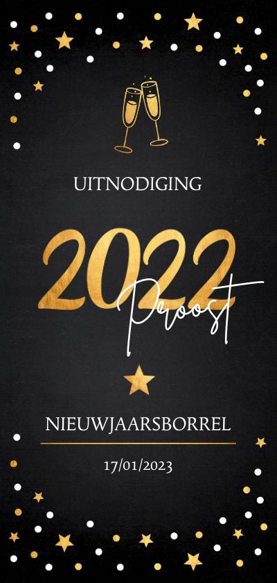Nieuwjaarskaarten - Nieuwjaarsborrel champagne uitnodiging confetti goudlook