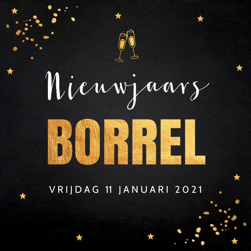 Nieuwjaarskaarten - Nieuwjaarsborrel goud confetti typografie 2020