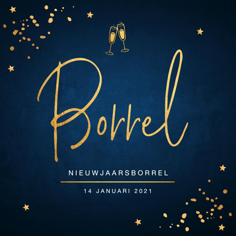 Nieuwjaarskaarten - Nieuwjaarsborrel uitnodiging confetti goud