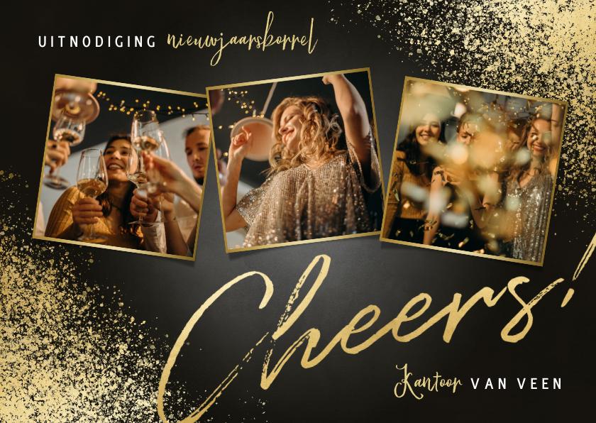 Nieuwjaarskaarten - Nieuwjaarsborrel uitnodiging fotocollage, cheers en spetters