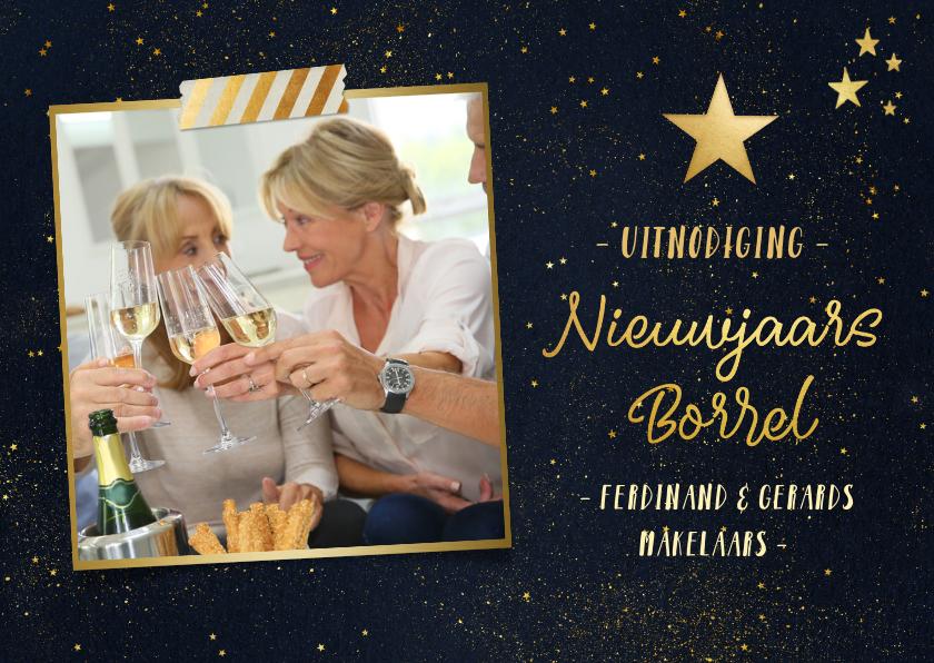 Nieuwjaarskaarten - Nieuwjaarsborrel uitnodiging met foto - zwart en goud