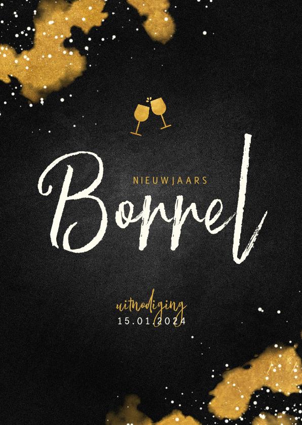 Nieuwjaarskaarten - Nieuwjaarsborrel uitnodiging met proostende glazen goud