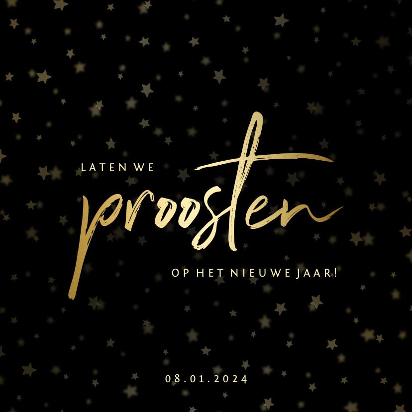 Nieuwjaarskaarten - Nieuwjaarsborrel uitnodiging sterren goud