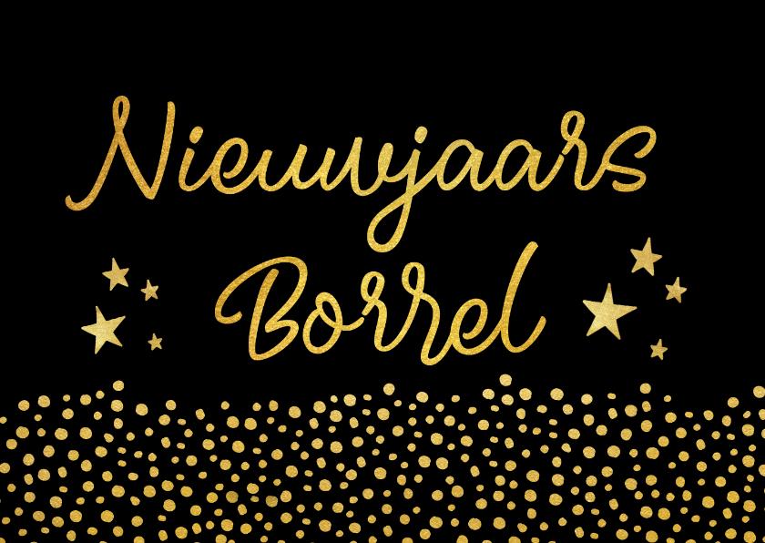Nieuwjaarskaarten - Nieuwjaarsborrel uitnodigingskaart zwart met goud