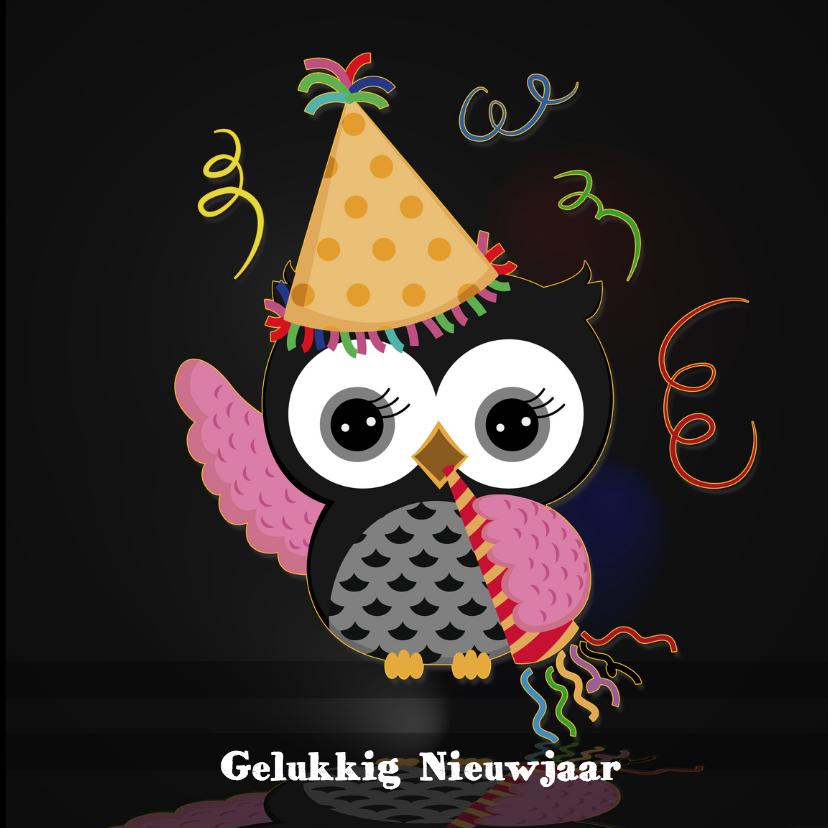 Nieuwjaarskaarten - Nieuwjaarsfeest met uiltje