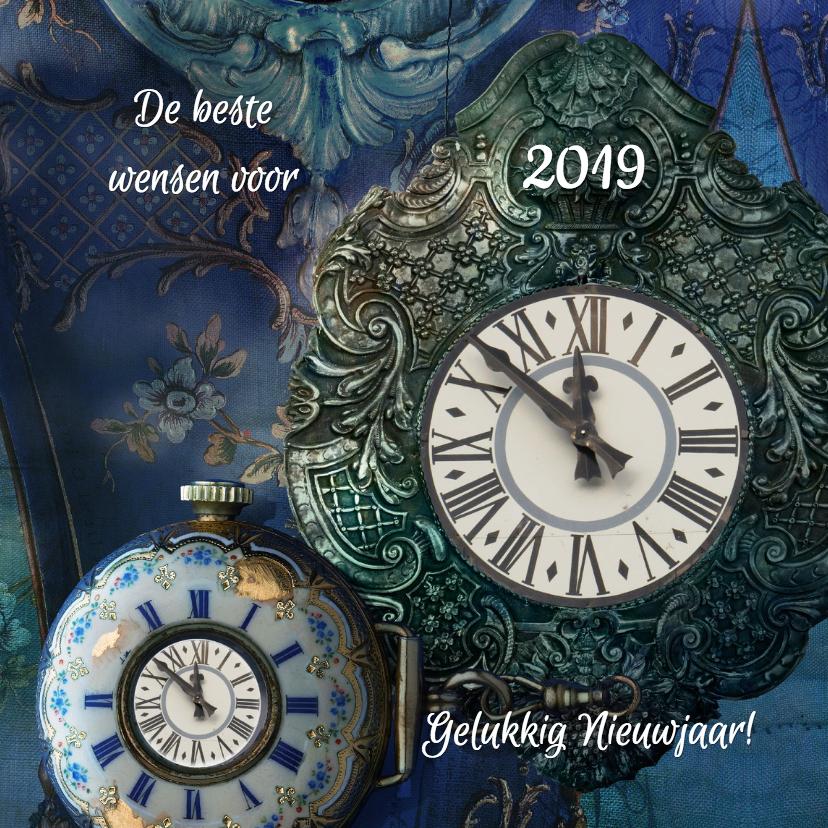 Nieuwjaarskaarten - Nieuwjaarskaart 2018 Klok - SG