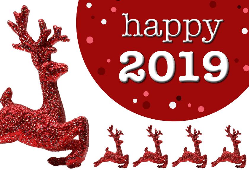 Nieuwjaarskaarten - Nieuwjaarskaart 2019 Rendier Confetti