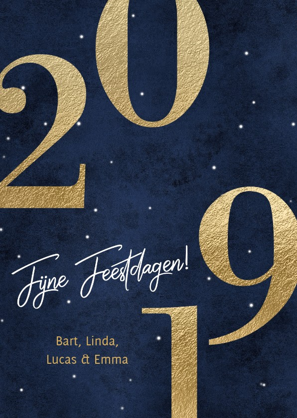 Nieuwjaarskaarten - Nieuwjaarskaart 2019 goud en donker blauw