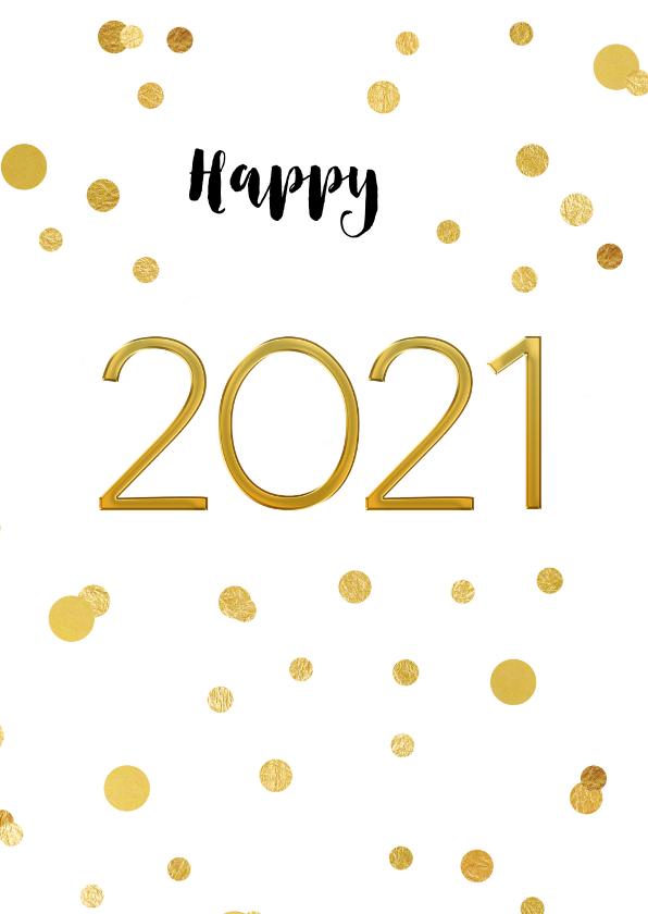 Nieuwjaarskaarten - Nieuwjaarskaart 2020 confetti goud