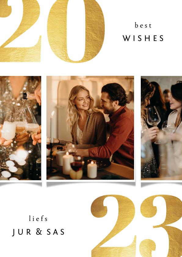Nieuwjaarskaarten - Nieuwjaarskaart 2022 best wishes goudlook met 3 foto's