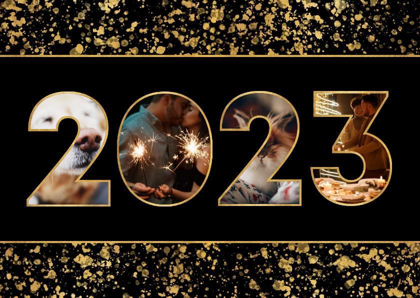 Nieuwjaarskaarten - Nieuwjaarskaart 2022 fotocollage spetters