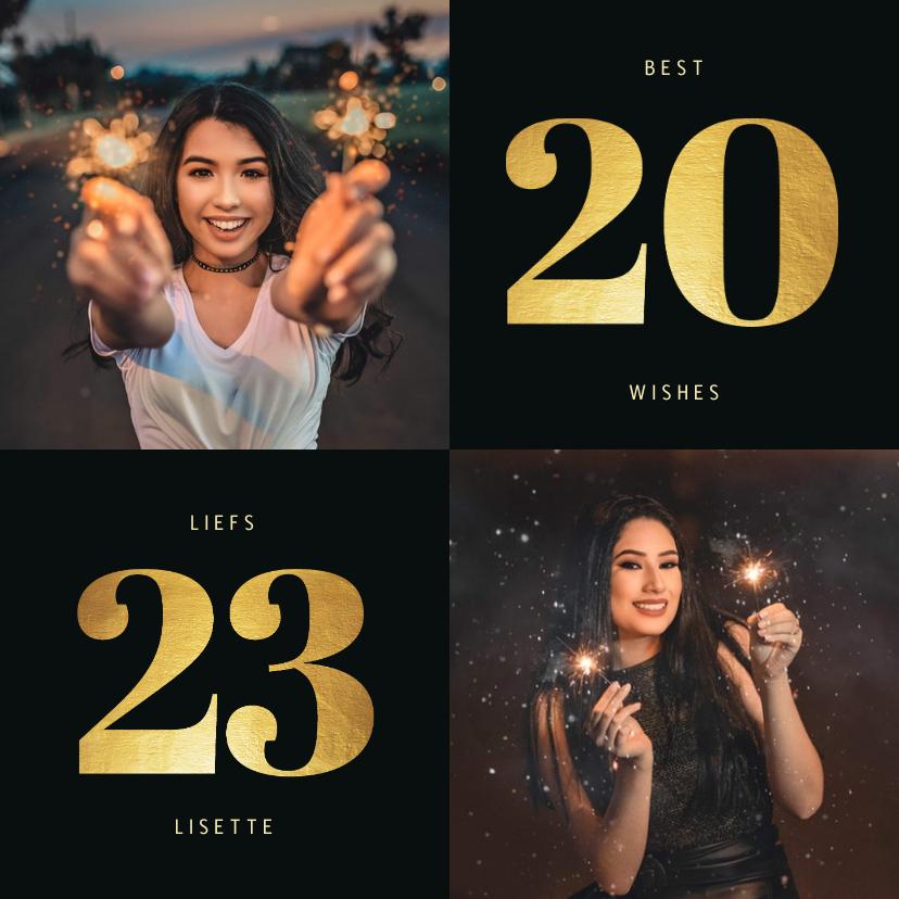 Nieuwjaarskaarten - Nieuwjaarskaart 2022 goudlook met 2 foto's