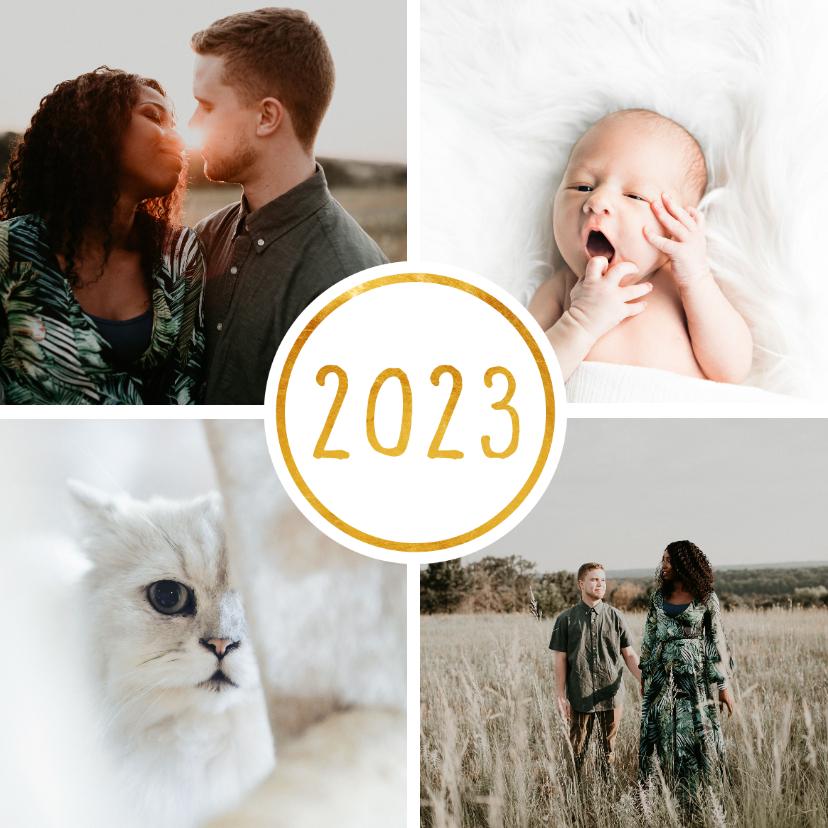 Nieuwjaarskaarten - Nieuwjaarskaart '2022' met 4 foto's vierkant