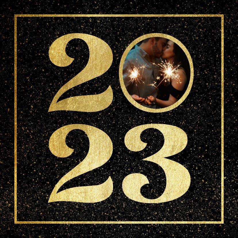 Nieuwjaarskaarten - Nieuwjaarskaart 2022 met foto en gouden kader