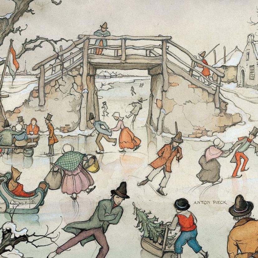 Nieuwjaarskaarten - Nieuwjaarskaart - Anton Pieck illustratie ijspret